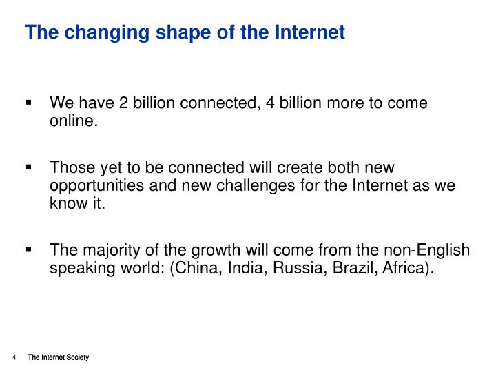 The changing shape of the Internet