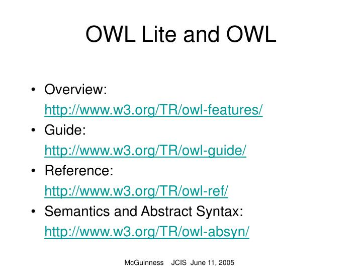 OWL Lite and OWL