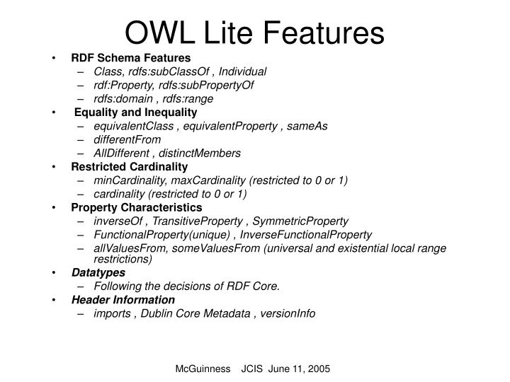 OWL Lite Features