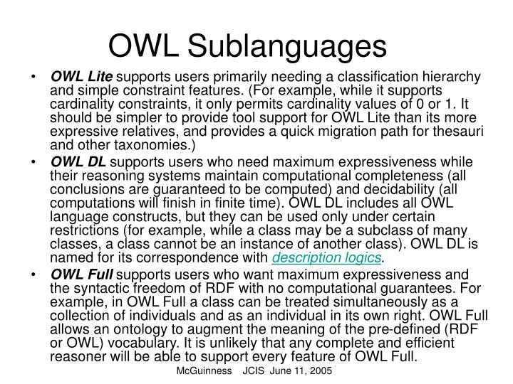 OWL Sublanguages
