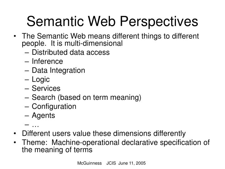 Semantic web perspectives