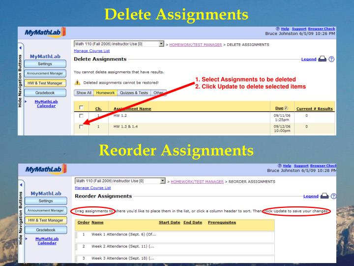 Delete Assignments