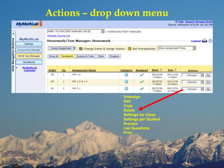 Actions – drop down menu