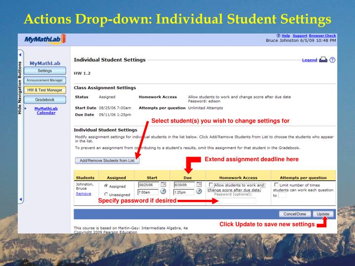 Actions Drop-down: Individual Student Settings