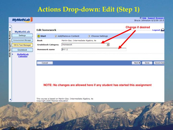 Actions Drop-down: Edit (Step 1)