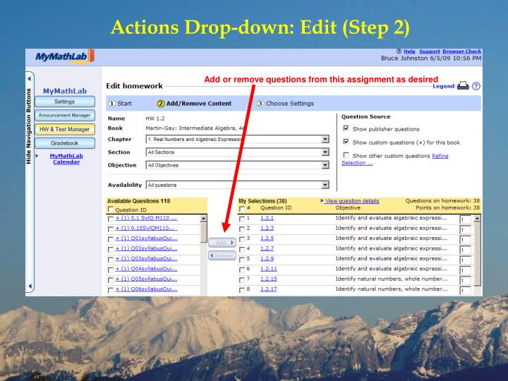 Actions Drop-down: Edit (Step 2)