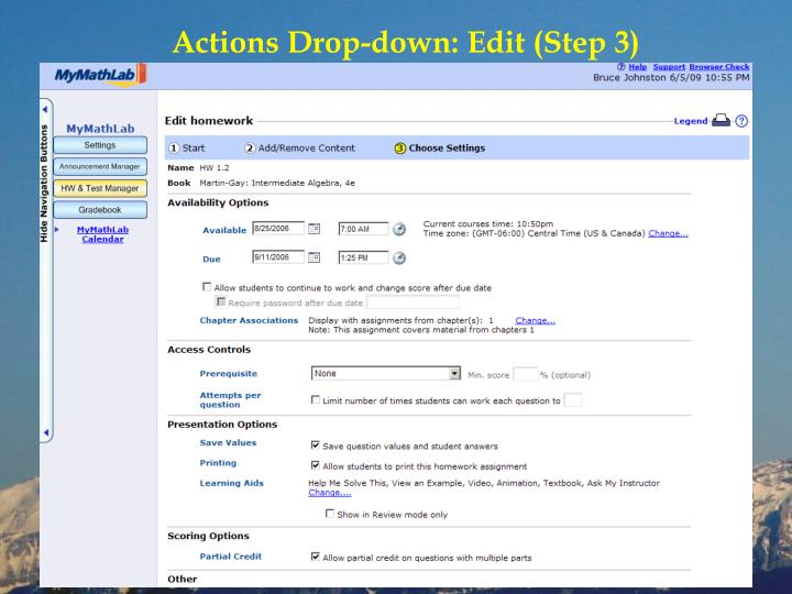 Actions Drop-down: Edit (Step 3)