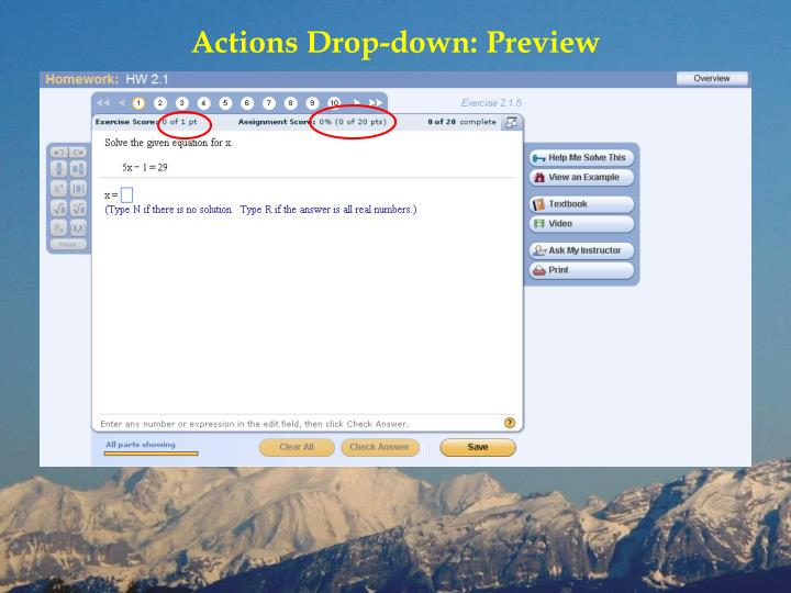 Actions Drop-down: Preview