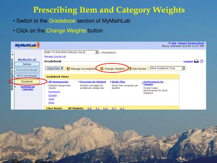 Prescribing Item and Category Weights