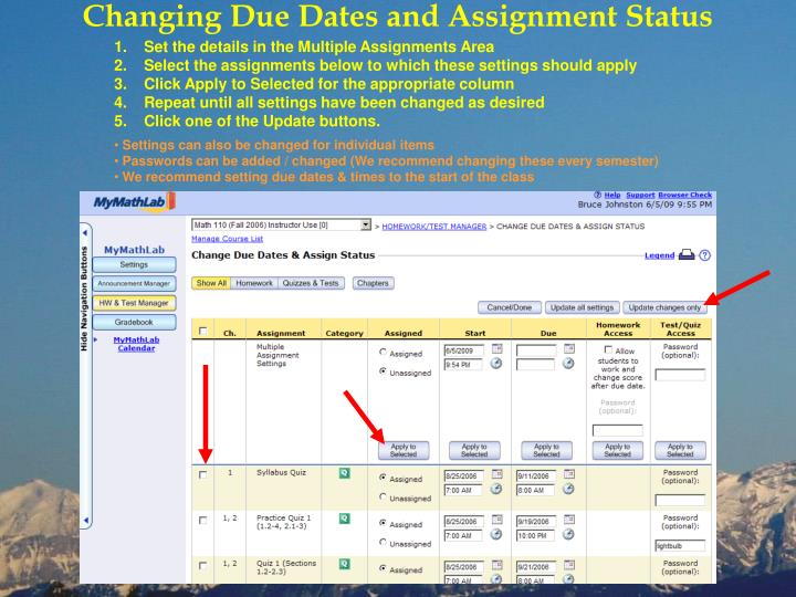 Changing Due Dates and Assignment Status