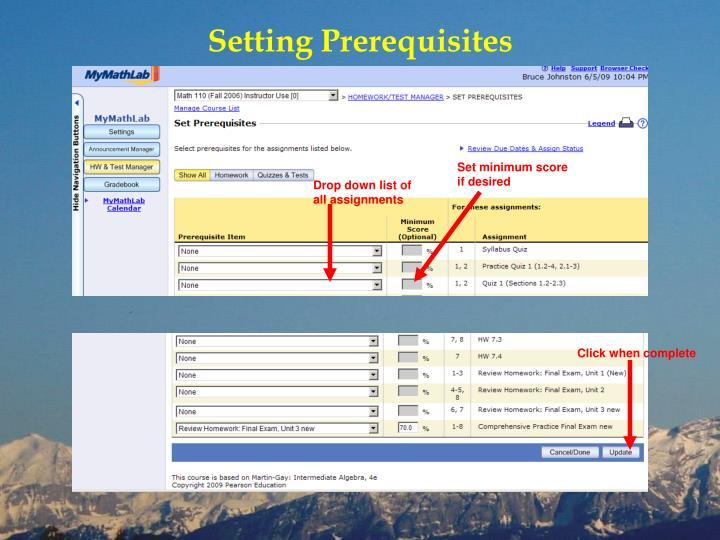Setting Prerequisites