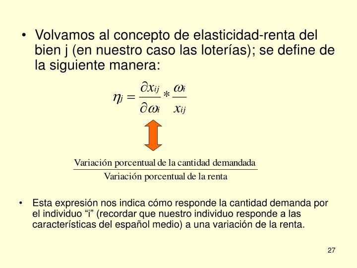 Volvamos al concepto de elasticidad-renta del bien j (en nuestro caso las loterías); se define de la siguiente manera: