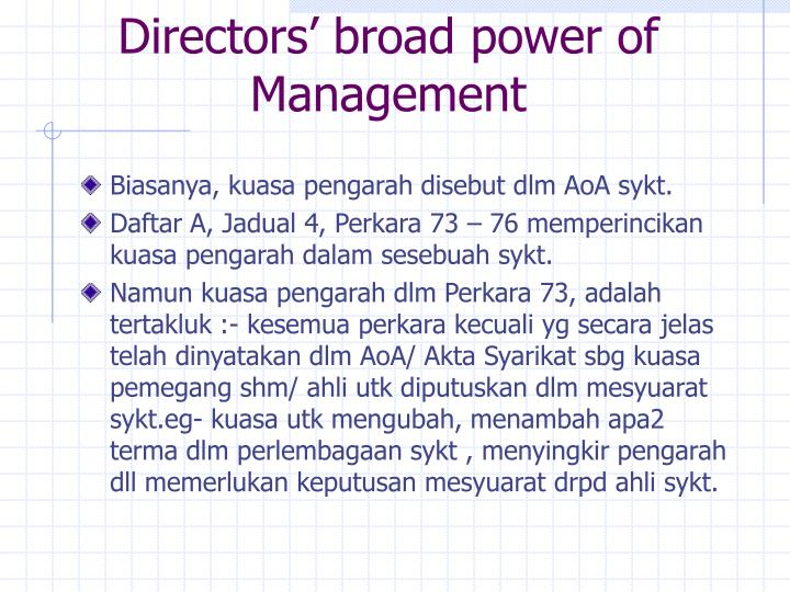 Directors' broad power of Management