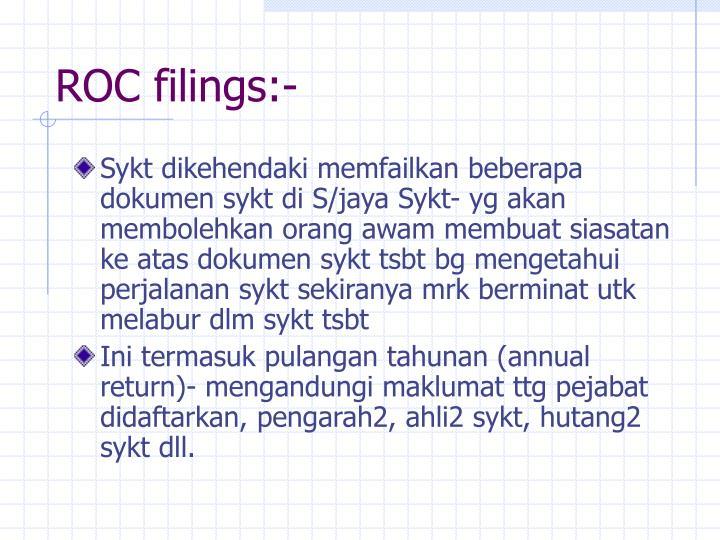 ROC filings:-