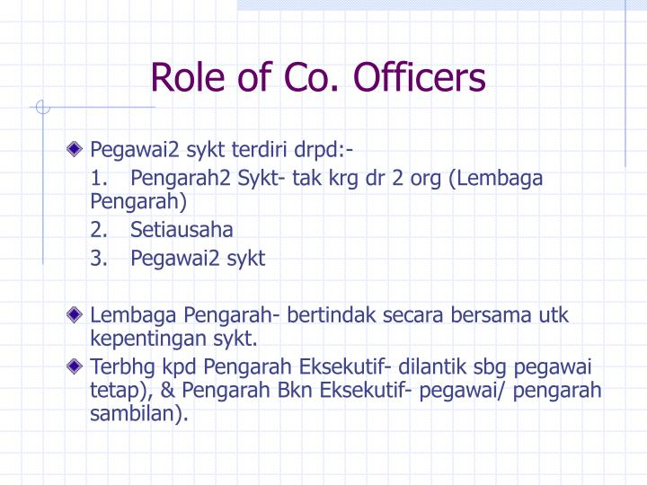 Role of Co. Officers