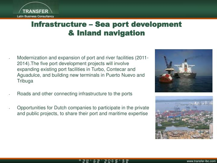 Infrastructure – Sea port development & Inland navigation
