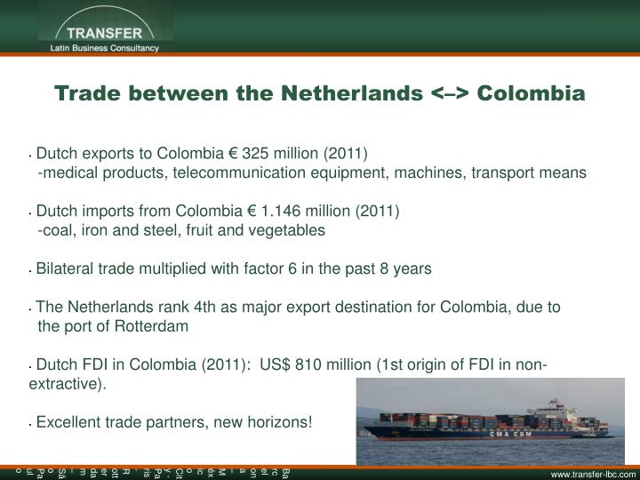 Trade between the Netherlands <–> Colombia