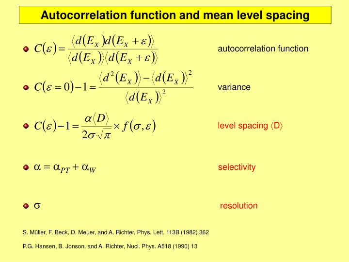 Autocorrelation function and mean level spacing