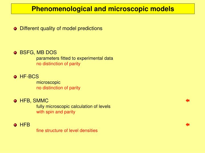 Phenomenological and microscopic models