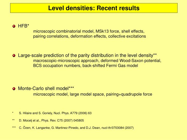 Level densities: Recent results
