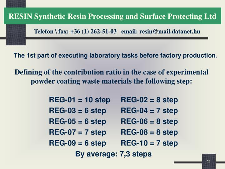 The 1st part of executing laboratory tasks before factory production