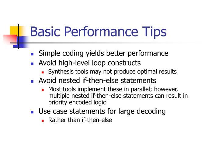 Basic Performance Tips