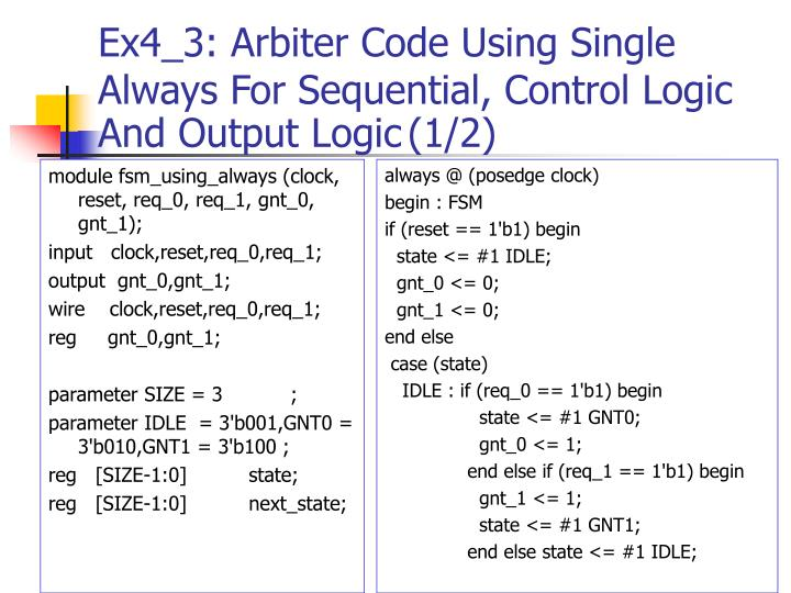 Ex4_3: Arbiter Code Using Single Always For Sequential, Control Logic And Output Logic