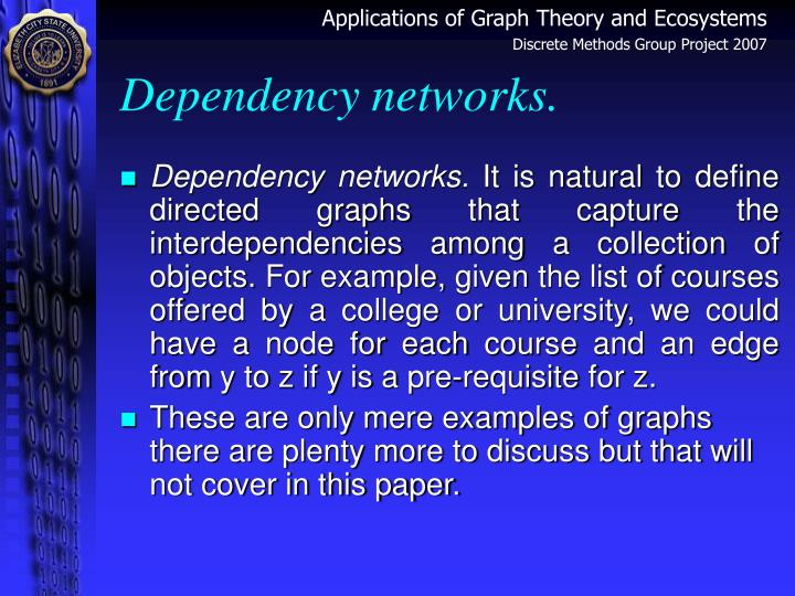 Dependency networks.