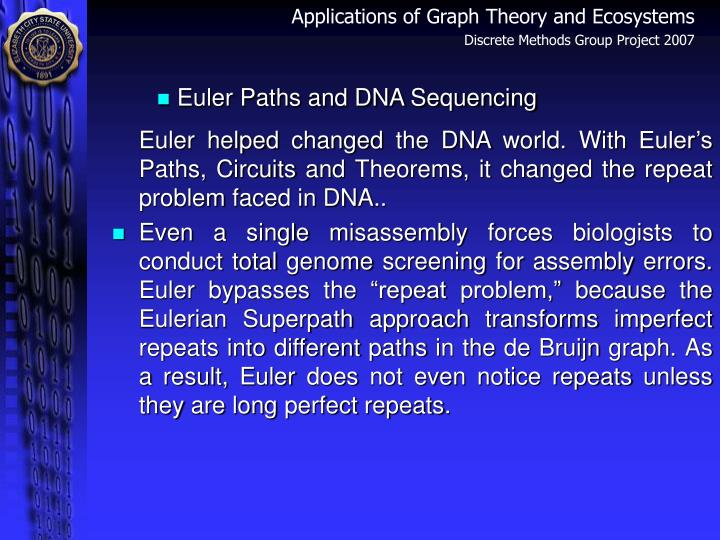Euler Paths and DNA Sequencing