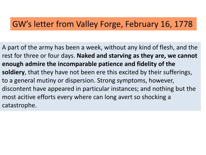 GW's letter from Valley Forge, February 16, 1778