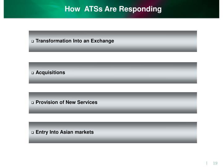 How  ATSs Are Responding