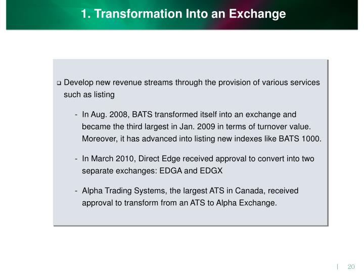 1. Transformation Into an Exchange