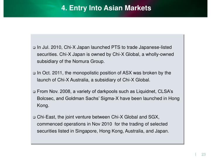 4. Entry Into Asian Markets