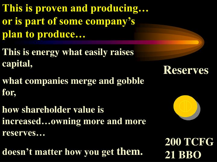 This is proven and producing… or is part of some company's plan to produce…