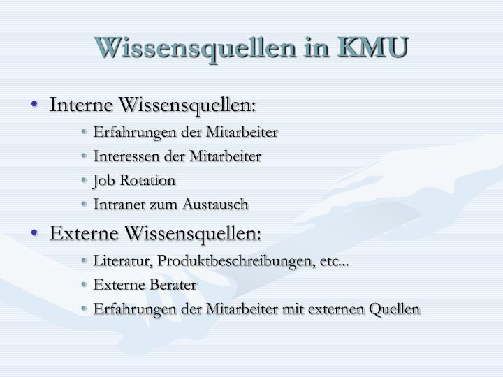 Wissensquellen in KMU