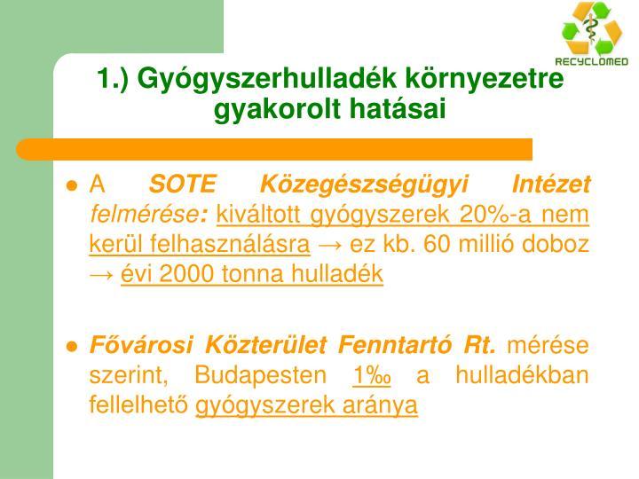 1.) Gyógyszerhulladék környezetre gyakorolt hatásai