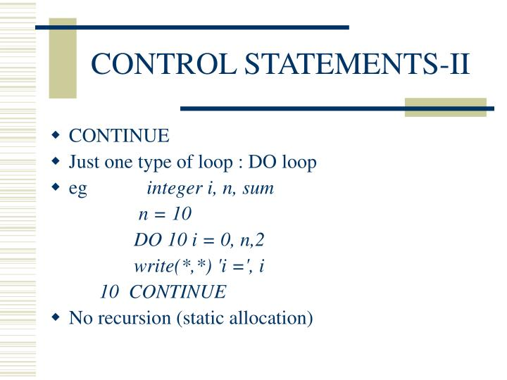 CONTROL STATEMENTS-II