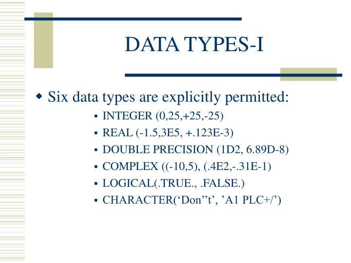 DATA TYPES-I