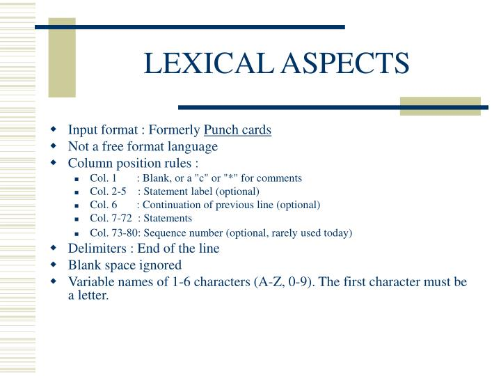 LEXICAL ASPECTS