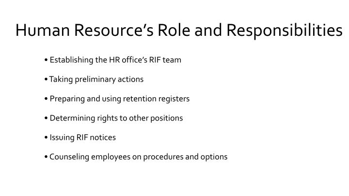 Human Resource's Role and Responsibilities