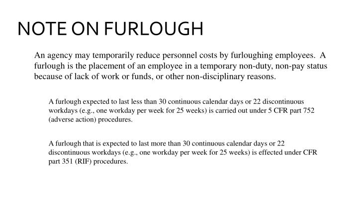 NOTE ON FURLOUGH