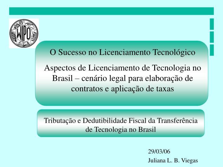 O Sucesso no Licenciamento Tecnológico