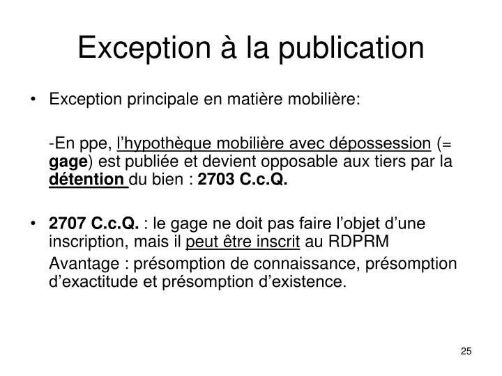 Exception à la publication
