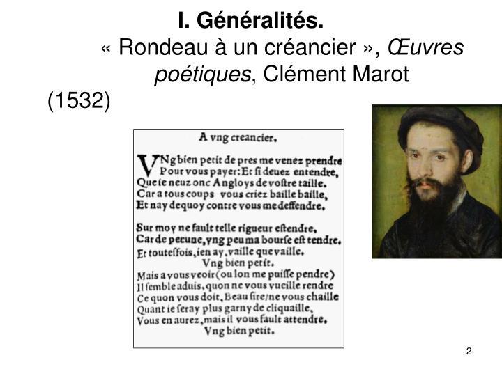 I. Généralités.