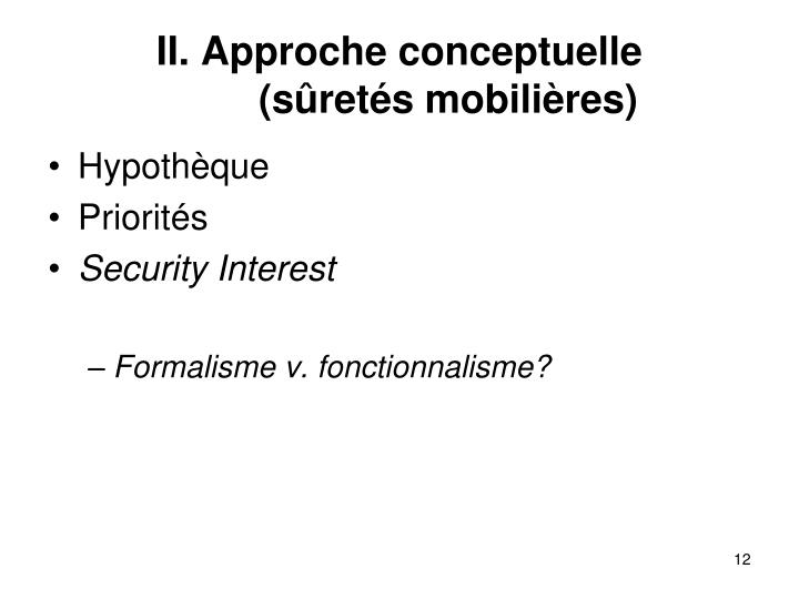 II. Approche conceptuelle