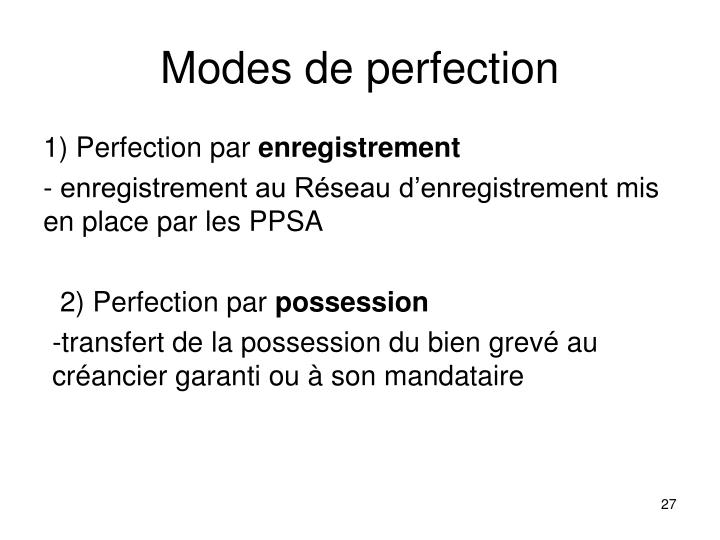 Modes de perfection