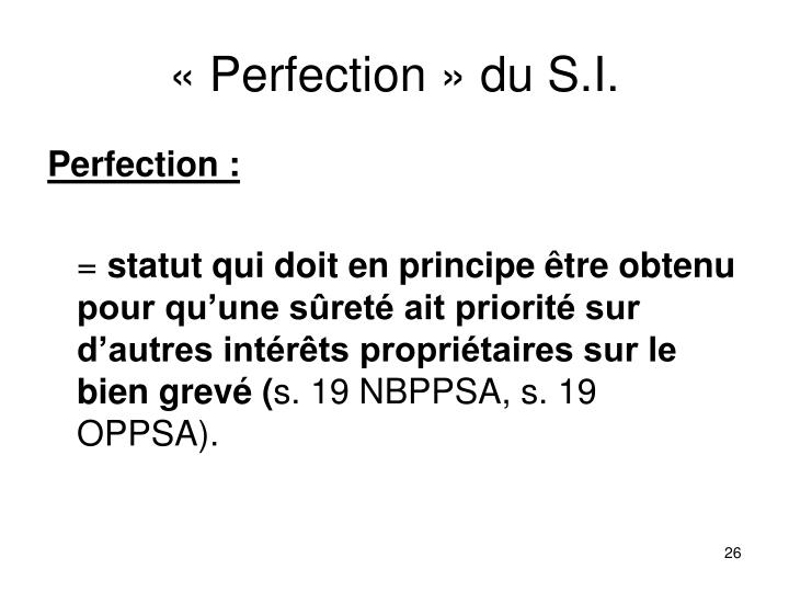 « Perfection » du S.I.