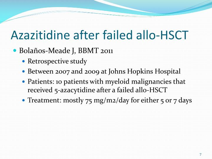 Azazitidine after failed allo-HSCT