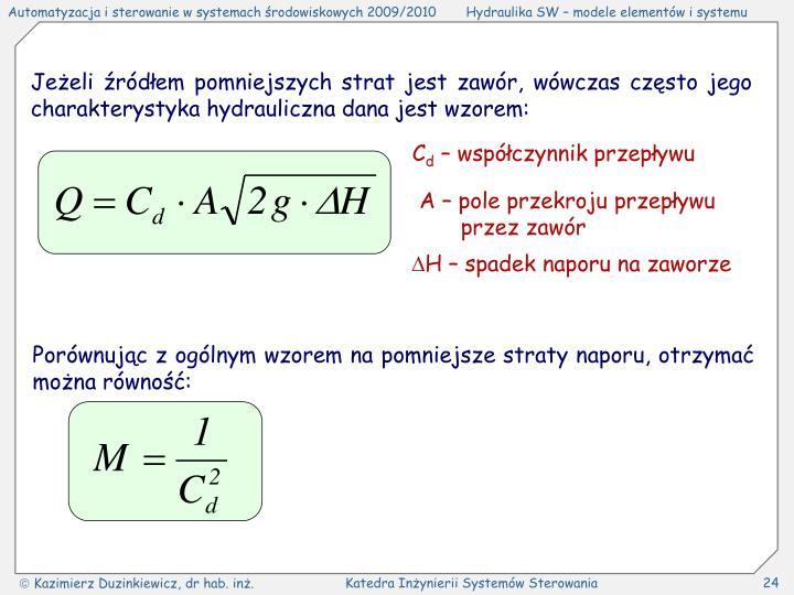 Jeżeli źródłem pomniejszych strat jest zawór, wówczas często jego charakterystyka hydrauliczna dana jest wzorem: