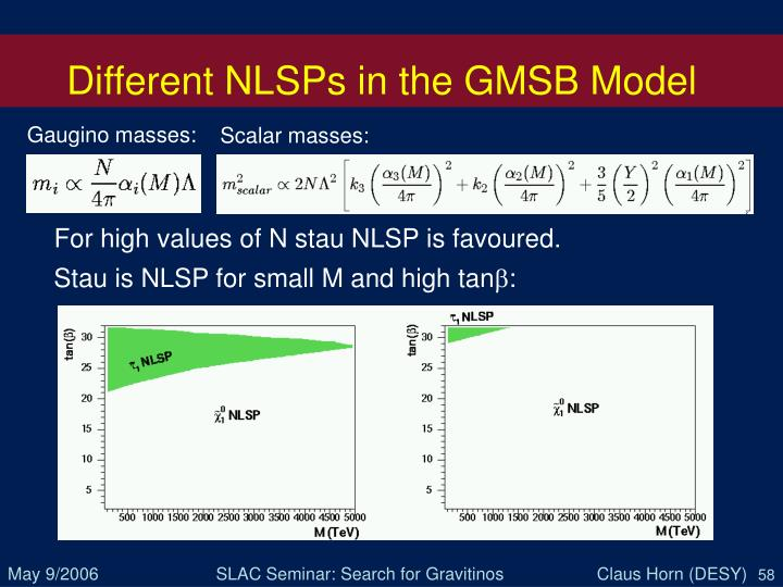 Different NLSPs in the GMSB Model